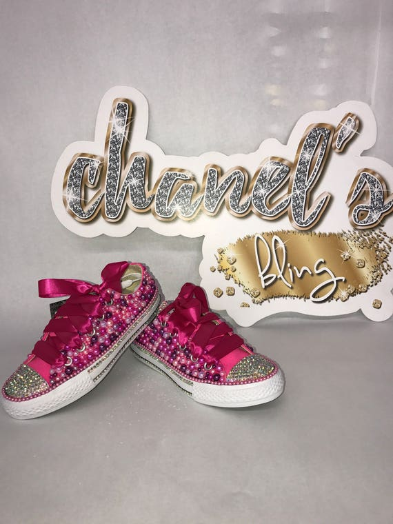5122f0d9d51c4f KIDS Pink Purple Bedazzled Bling Converse All Star Chuck