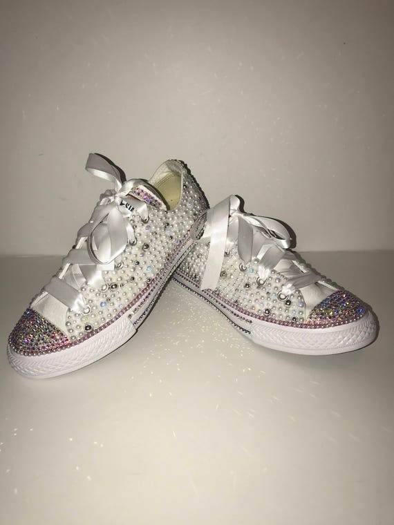 3e3f9fe062ea WOMEN S White   Silver Bedazzle Bling Converse All Star