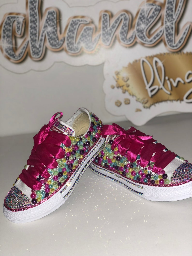 d5d310d8ccd20b KIDS Pink Colorful Bling Converse All Star Chuck Taylor