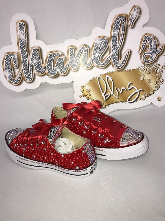 Authentic Chuck Taylor Toddler Girl's Blinged Out Converse in Color Red, Toddler Converse, Converse, Chuck Taylor's, Rhinestone Converse