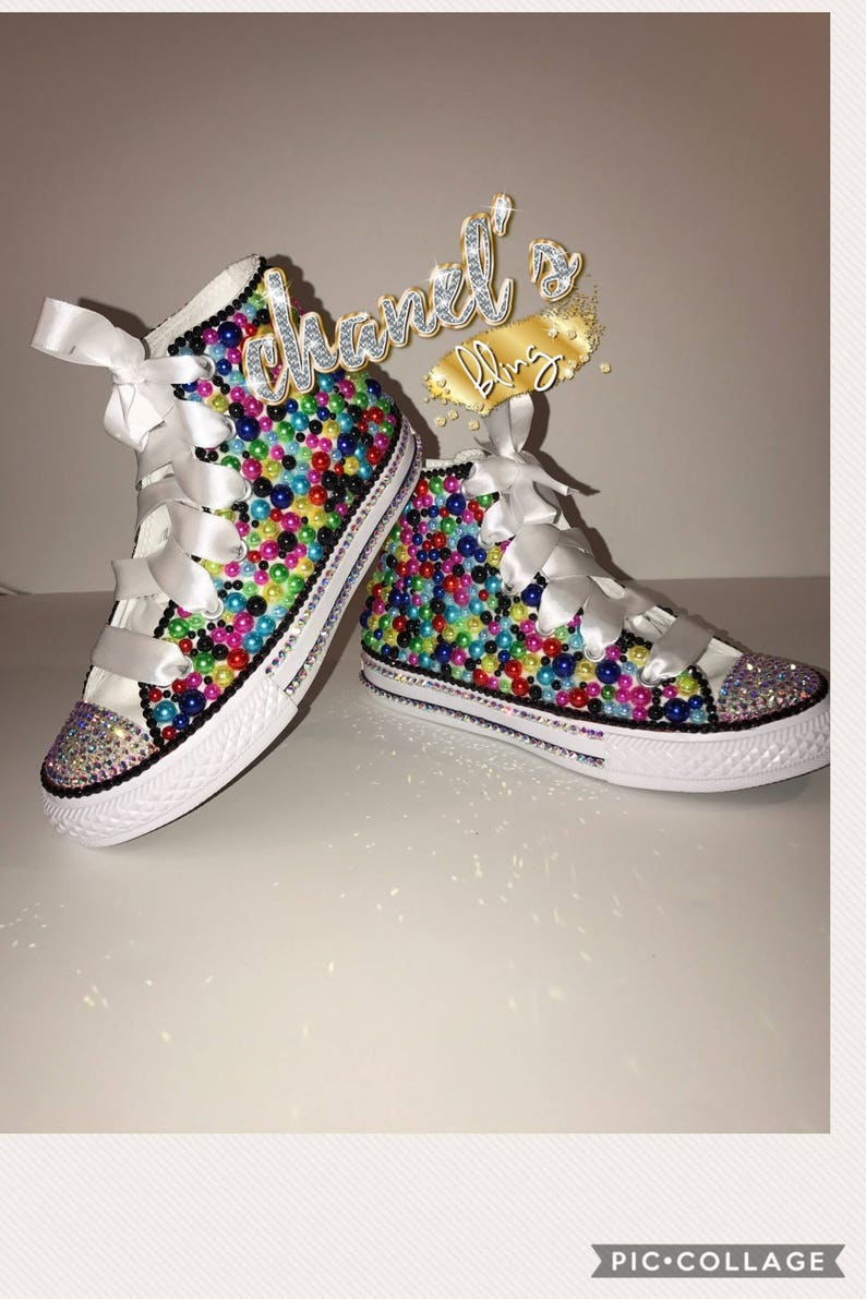 e5b50bd52700 KIDS Colorful Remix Bedazzle Bling Converse All Star Chuck