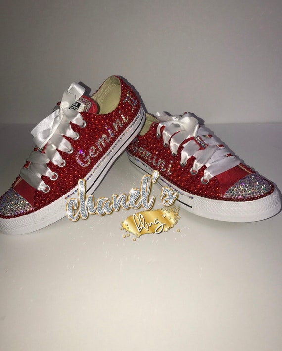 Customize Zodiac Sign Red Bling All Star Converse Chuck Taylor Sneakers Low Top