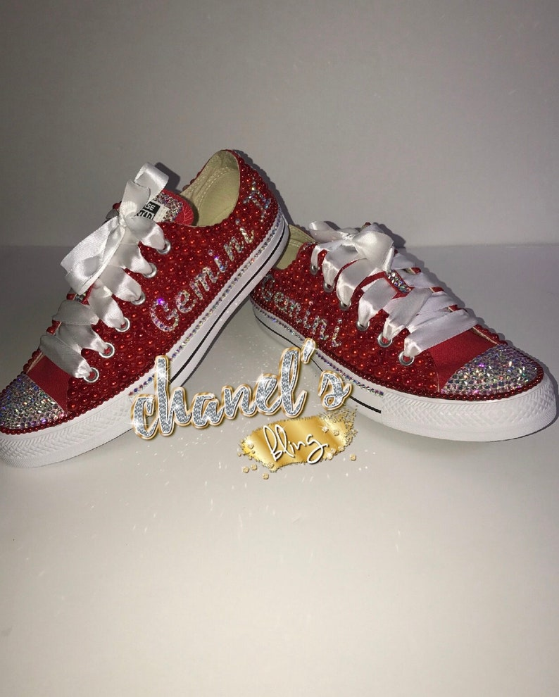 b222273e1765 Zodiac Sign Red Bling All Star Converse Chuck Taylor Sneakers