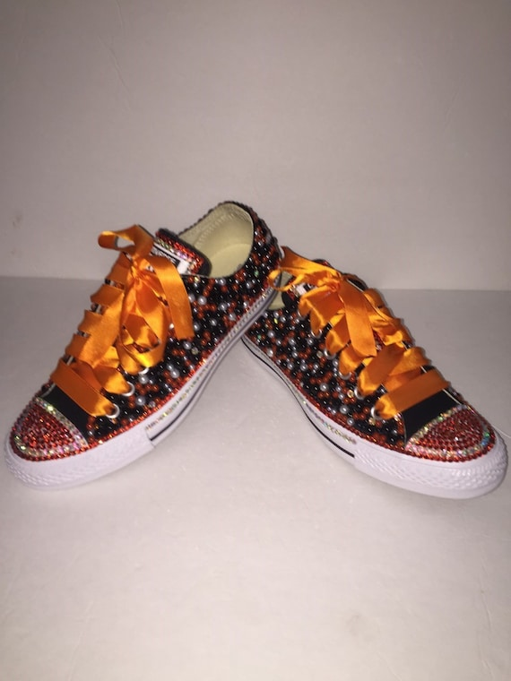 WOMEN Black   Orange Bling Converse All Star Chuck Taylor  8f6ee0def