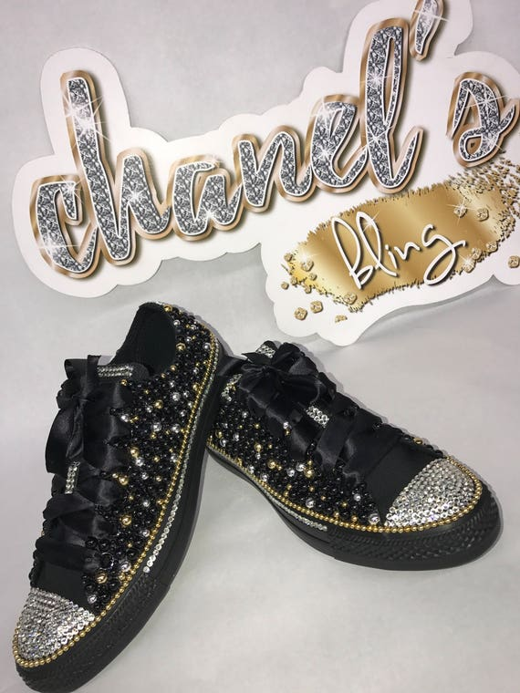 WOMEN S Black Gold Silver Bling Converse All Star Chuck   Etsy f9a397b326