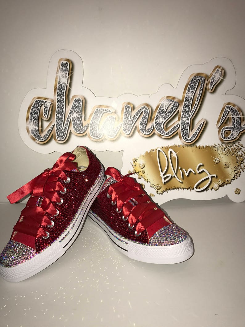 cb9e6c66a45e86 Red Rhinestone Bling All Star Chuck Taylor Sneakers Low-Top