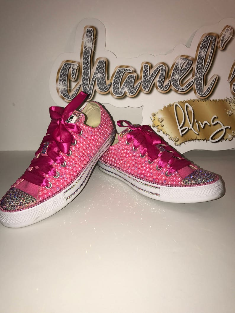 53e25c530d9c KIDS Love Pink Bling Converse All Star Chuck Taylor Sneakers
