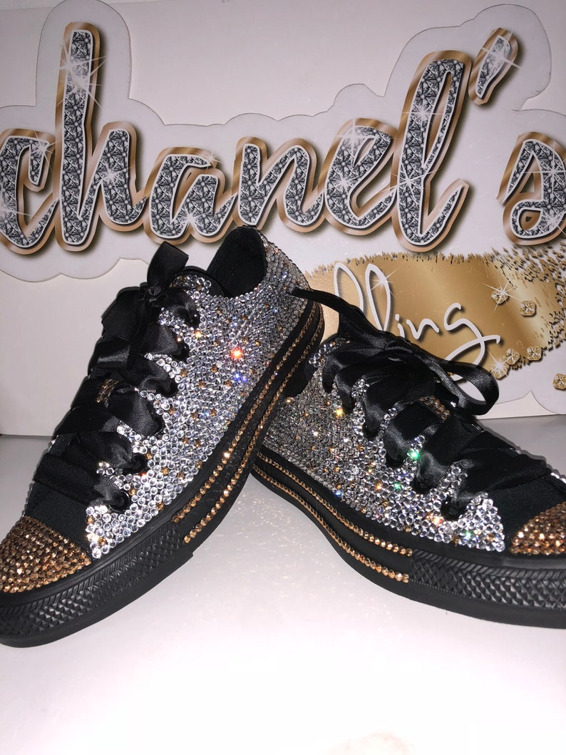 2881724abe7c KIDS Silver Black Gold  Rhinestone Bling All Star Chuck Taylor