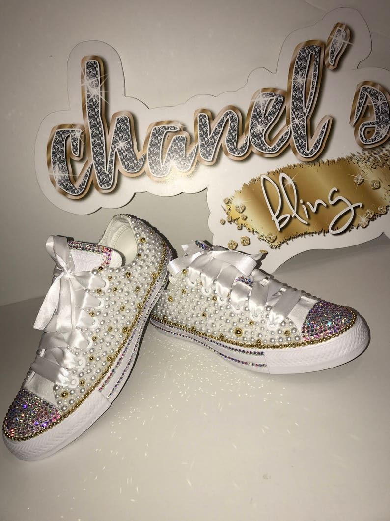 4934e86ae3c054 KIDS White Gold Bling Converse All Star Chuck Taylor Sneakers