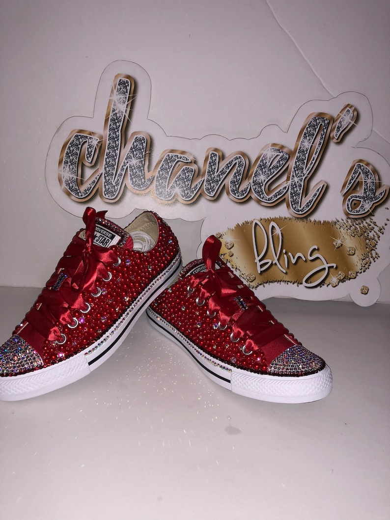 dcc9d46d1bb6 WOMEN s ALL Red Bedazzle Bling All Star Chuck Taylors