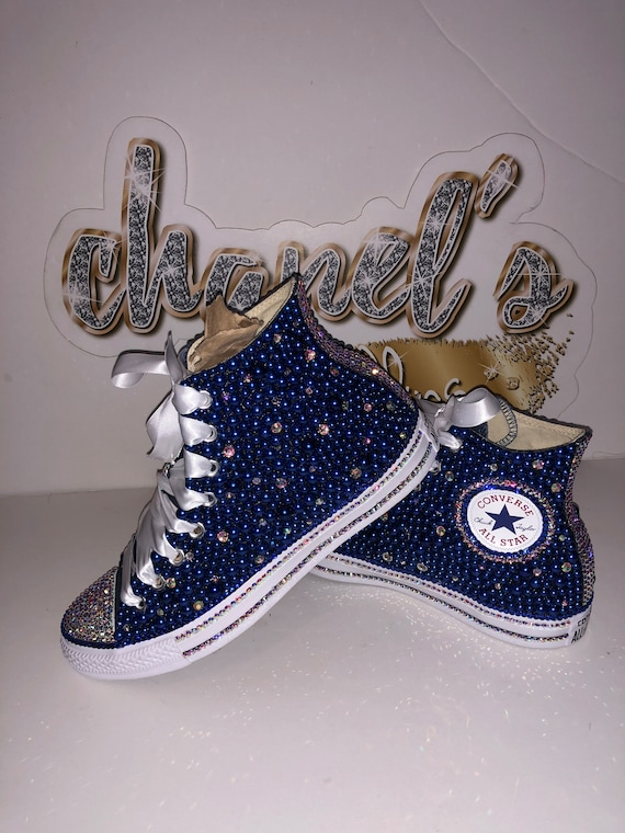WOMEN's Blue Bling Converse All Star Chuck Taylor Sneakers HIGH TOP