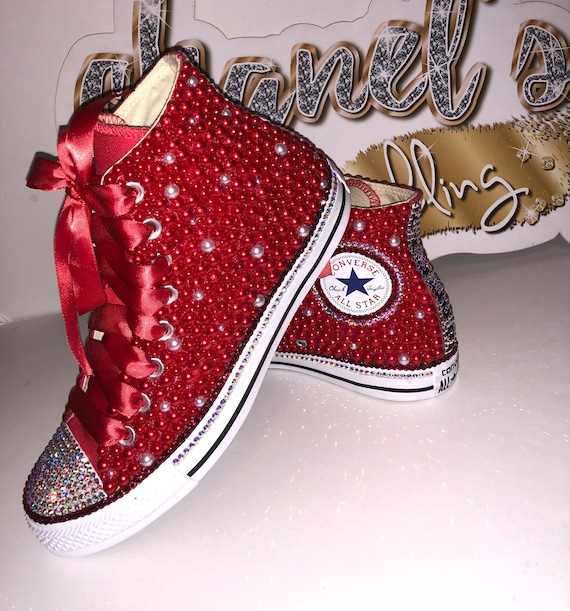 WOMEN's Red Bling Converse All Star Chuck Taylor Sneakers HIGH TOP