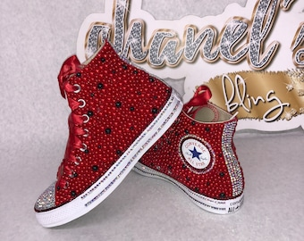 Kids Red/Black Bling Converse All Star Chuck Taylor Sneakers HIGH TOP