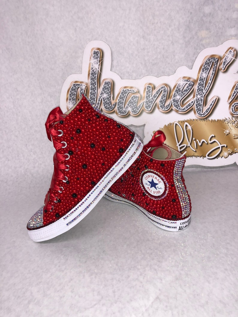26e01247b7938 Kids Red/Black Bling Converse All Star Chuck Taylor Sneakers HIGH TOP