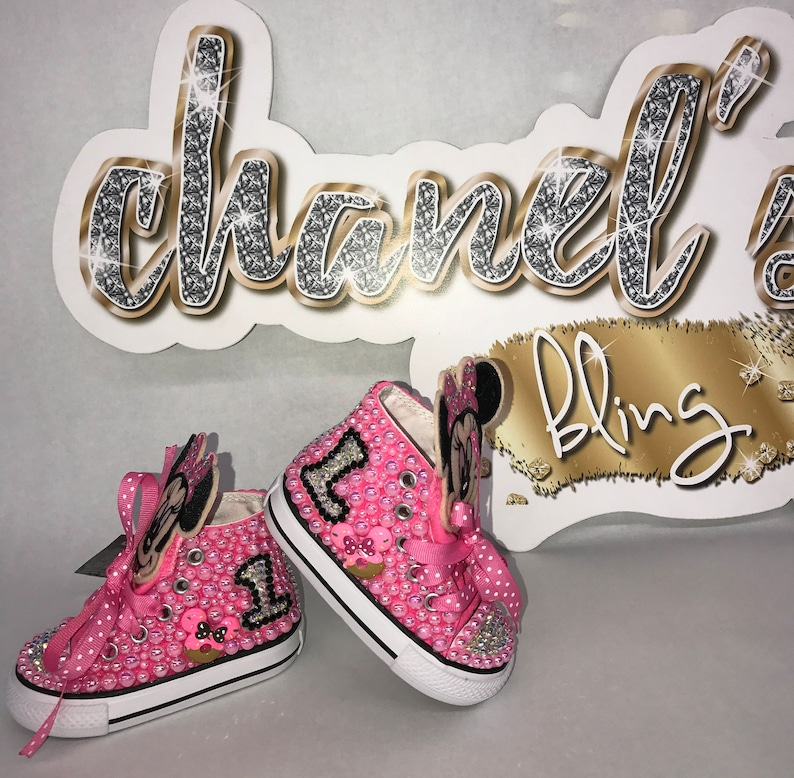 6bde9f800988 KIDS Minnie Mouse Inspired Bedazzle Bling Converse All Star