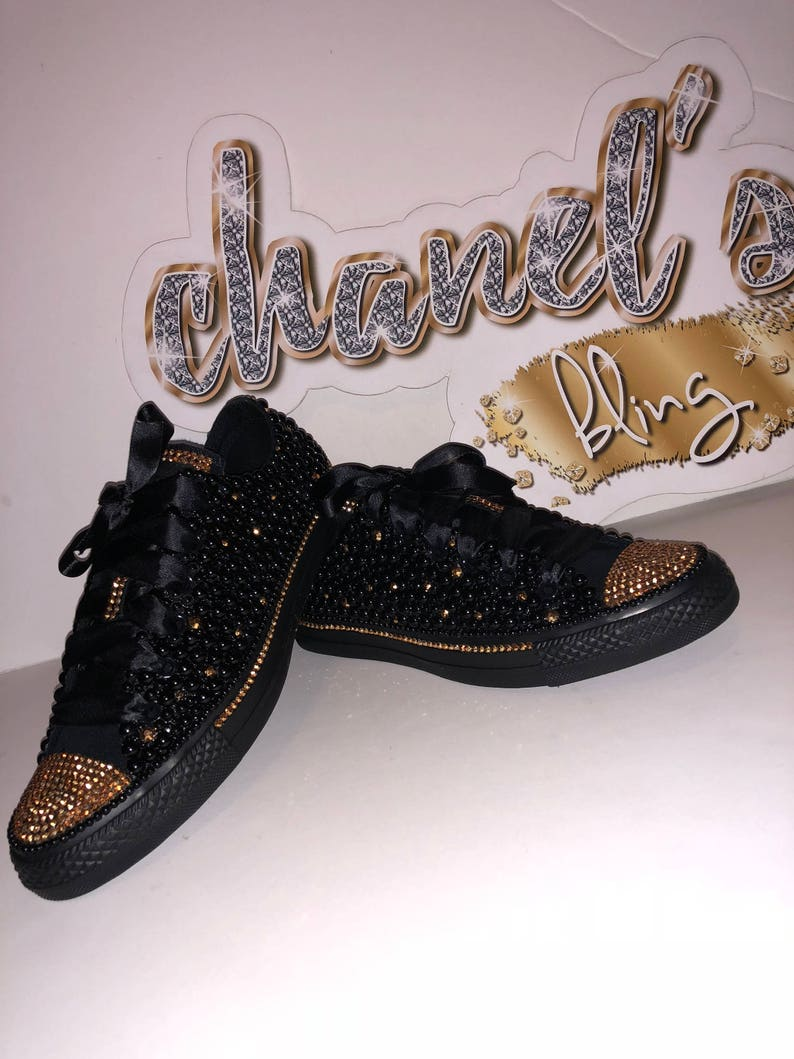 b3ecdbac5648 KIDS Black Gold Bling Converse All Star Chuck Taylor Sneakers