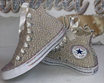 WOMEN'S Off White/Iridescent Rhinestone Glam Bling Converse All Star Chuck Taylor Sneakers High-Top
