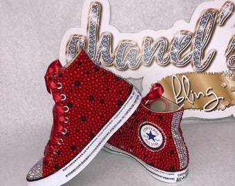 WOMEN's Red/Black Bling Converse All Star Chuck Taylor Sneakers HIGH TOP