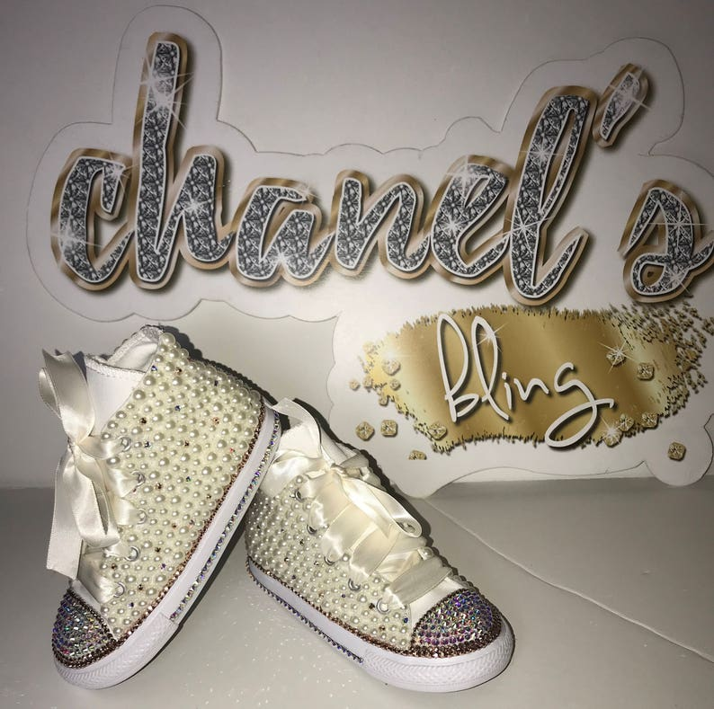 d87734b6c5af4 KIDS Off White/Rose Gold Bling Converse All Star Chuck Taylor Sneakers  High-Top