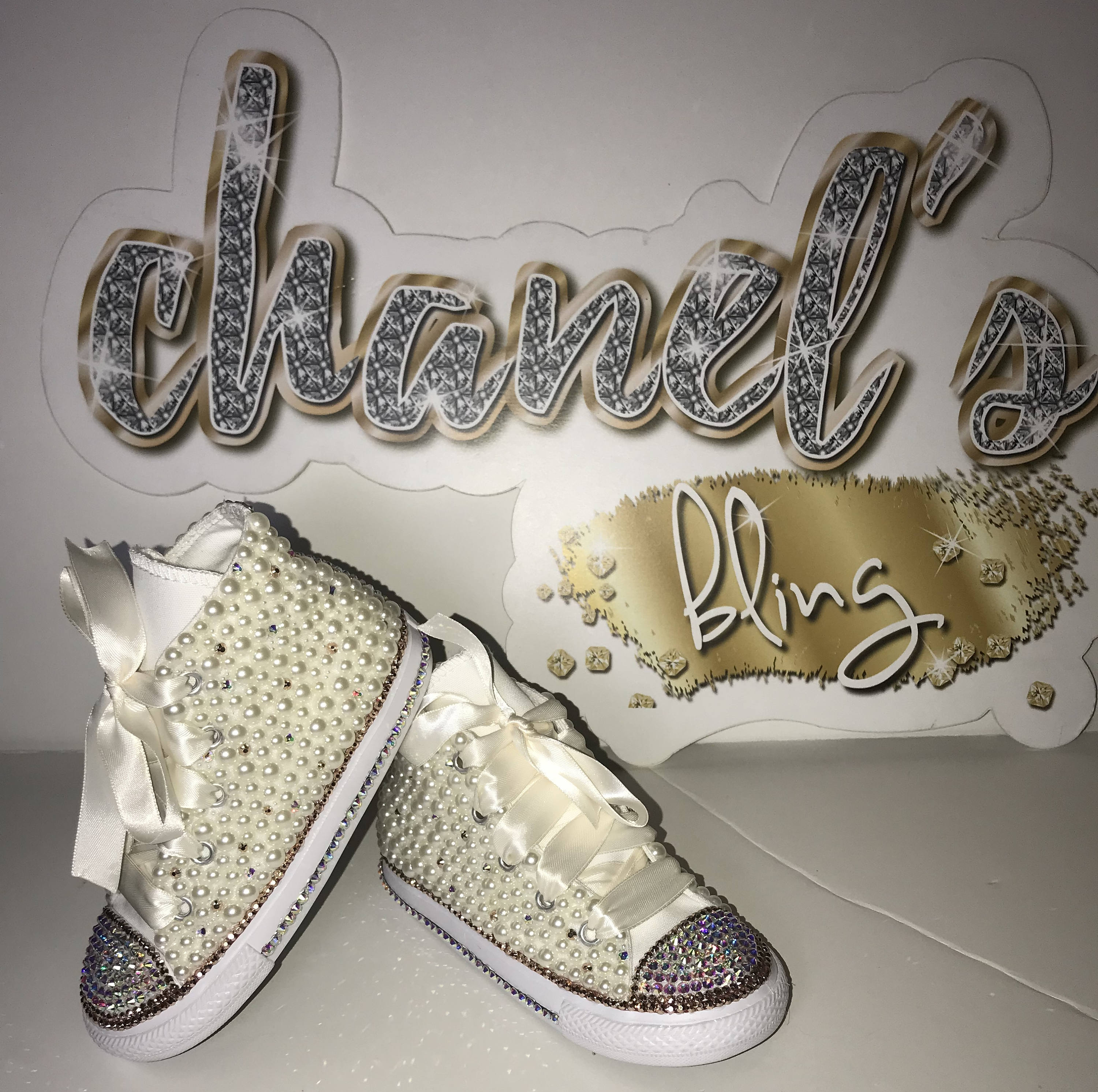 e1480732c7812 KIDS Off White/Rose Gold Bling Converse All Star Chuck Taylor Sneakers  High-Top