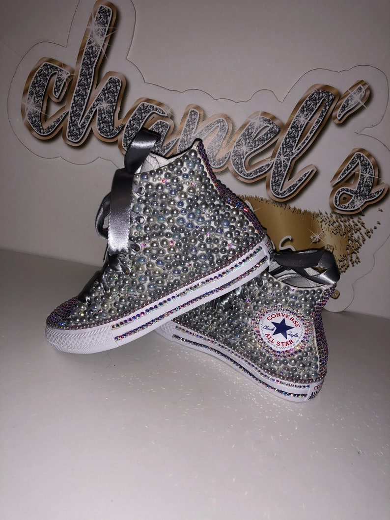 37a23ae14a169 KIDS Grey Bling Converse All Star Chuck Taylor Sneakers High-Top