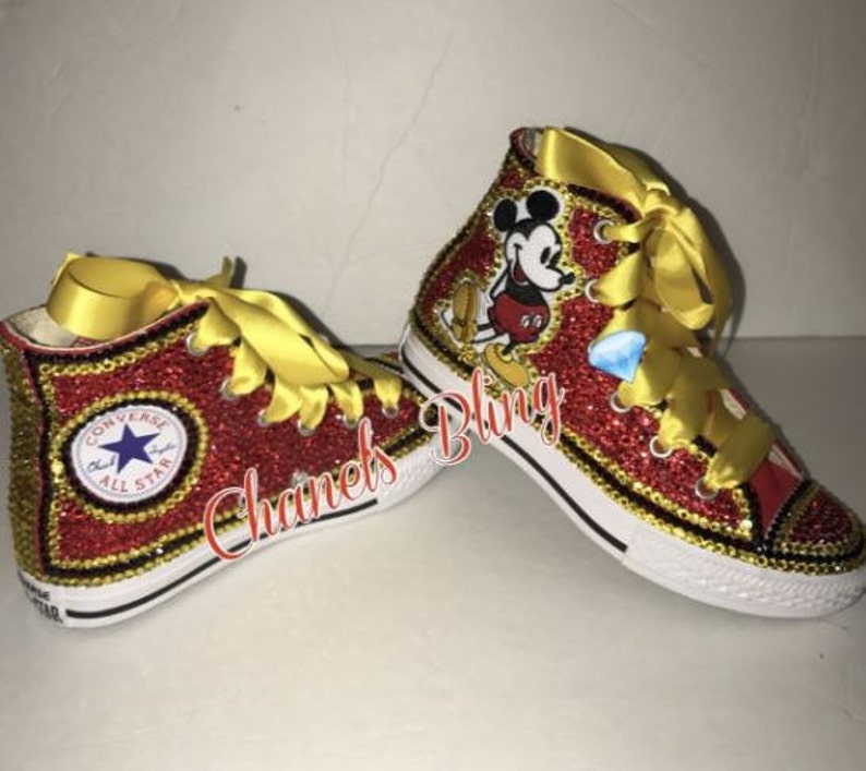 f9c5ab09aba0 KIDS Mickey Mouse Inspired Bling Converse All Star Chuck