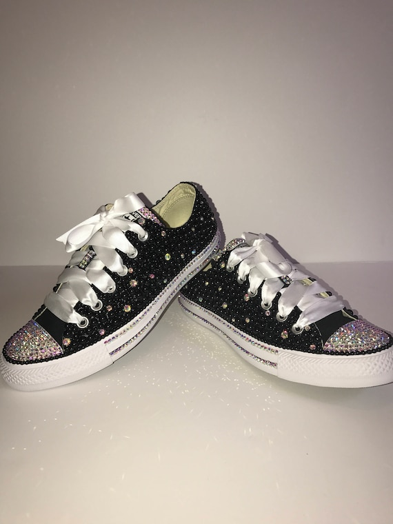 3ab4d799d39ad KIDS Black Bling Converse All Star Chuck Taylor Sneakers Low-Top