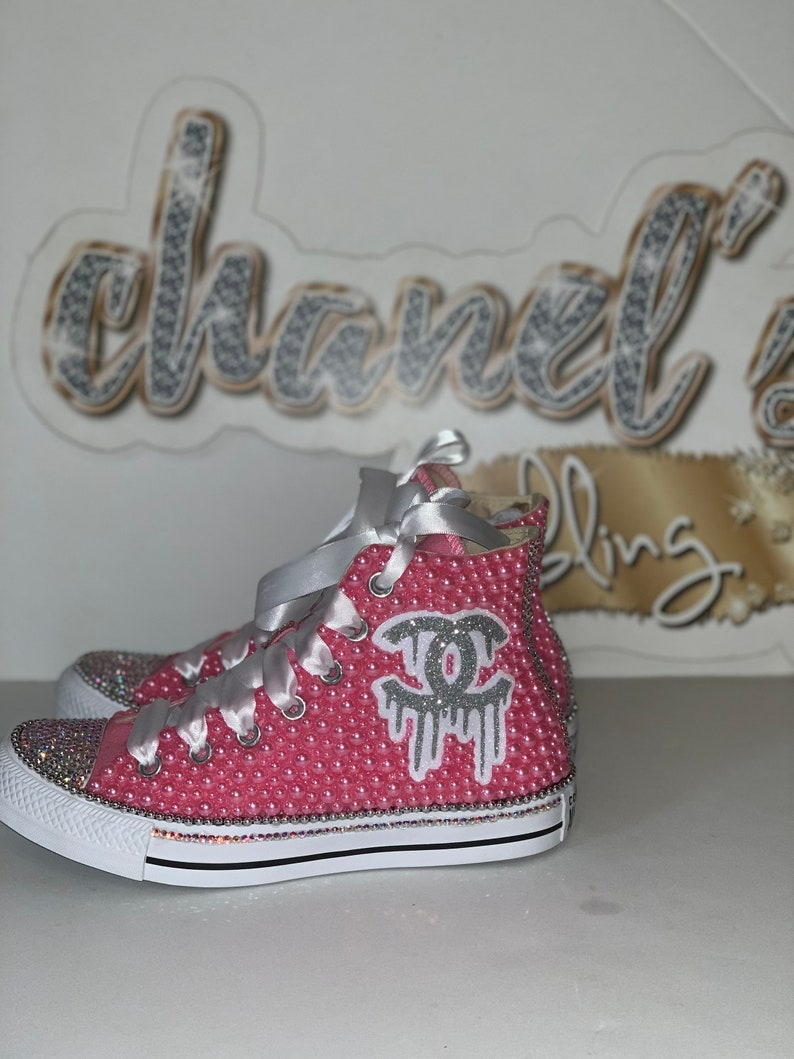 d08e0a7ae5382 WOMEN'S Pink/Silver Chanel Drip Inspired Converse All Star Chuck Taylor  Sneakers High Top