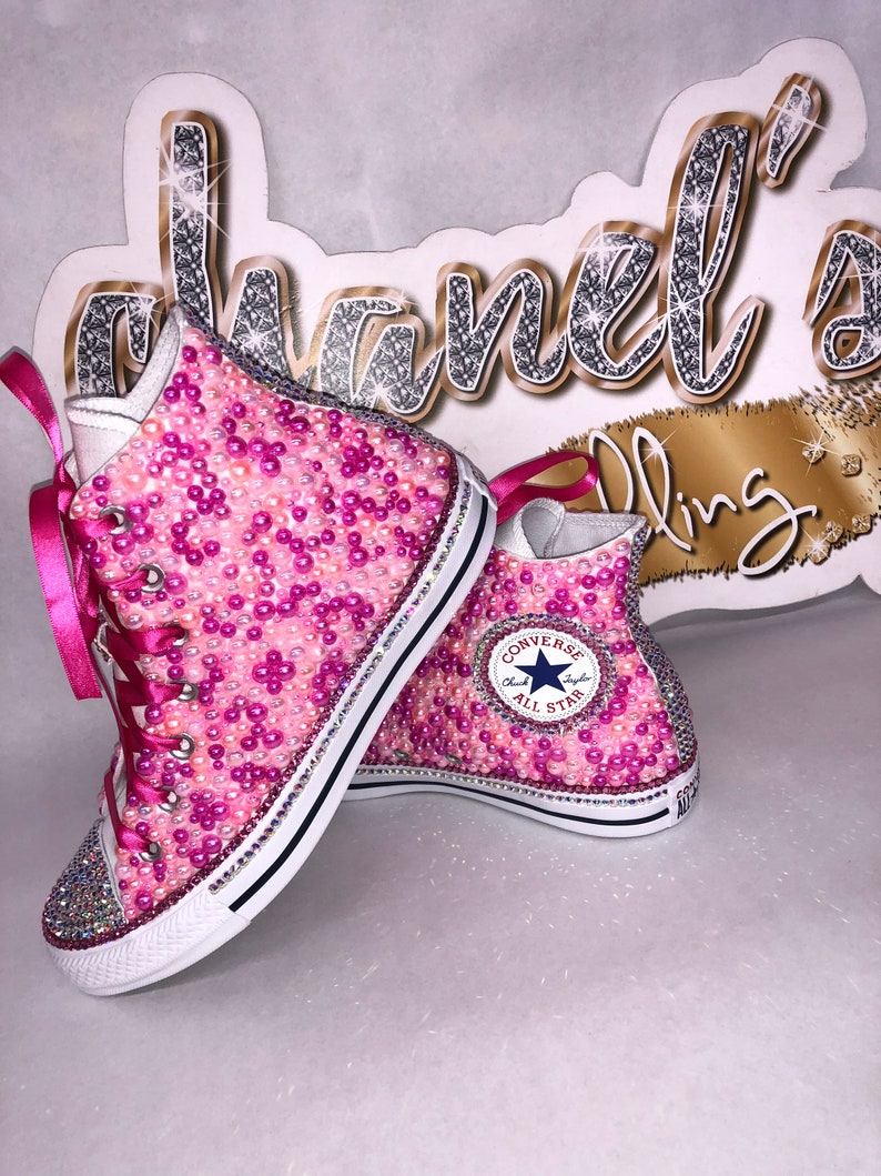 44194140688e Women s Pink Bling Converse All Star Chuck Taylor Sneakers