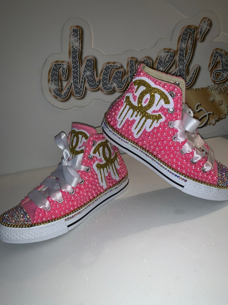 14ee3e48907bd WOMEN'S Pink/Gold Chanel Drip Inspired Converse All Star Chuck Taylor  Sneakers High Top