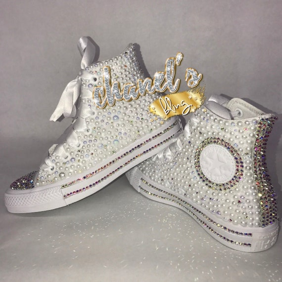 White Glam Bling Converse All Star Chuck Taylor Sneakers High Top