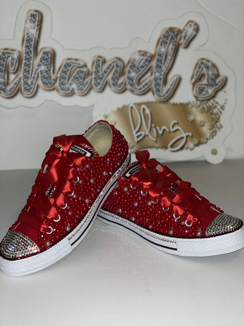 9e4476a5d947b Kids Red/White/Clear Rhinestone Bling All Star Chuck Taylors Sneakers  Low-Top