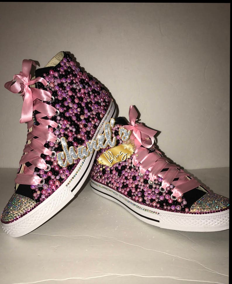 927088cc5d51 KIDS Pink Black Bling Converse All Star Chuck Taylor Sneakers