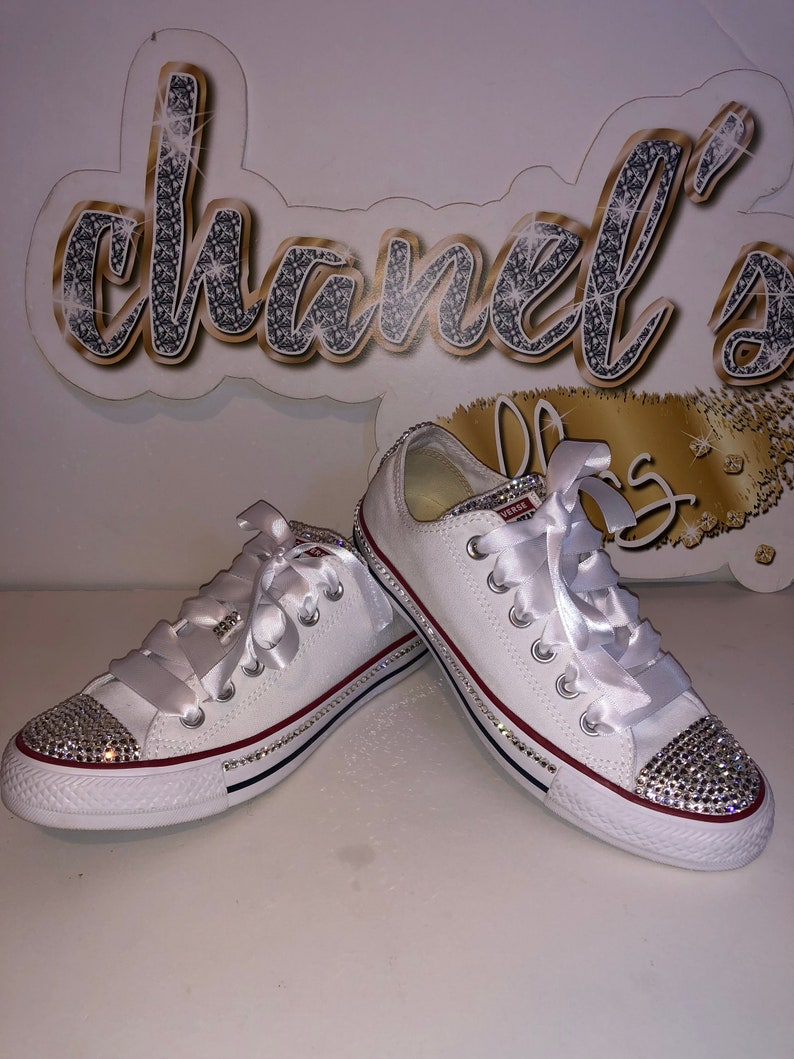 5b4a61f650911 WOMEN White Clear Rhinestone Bling Converse All Star Chuck Taylor Sneakers  Low-Top