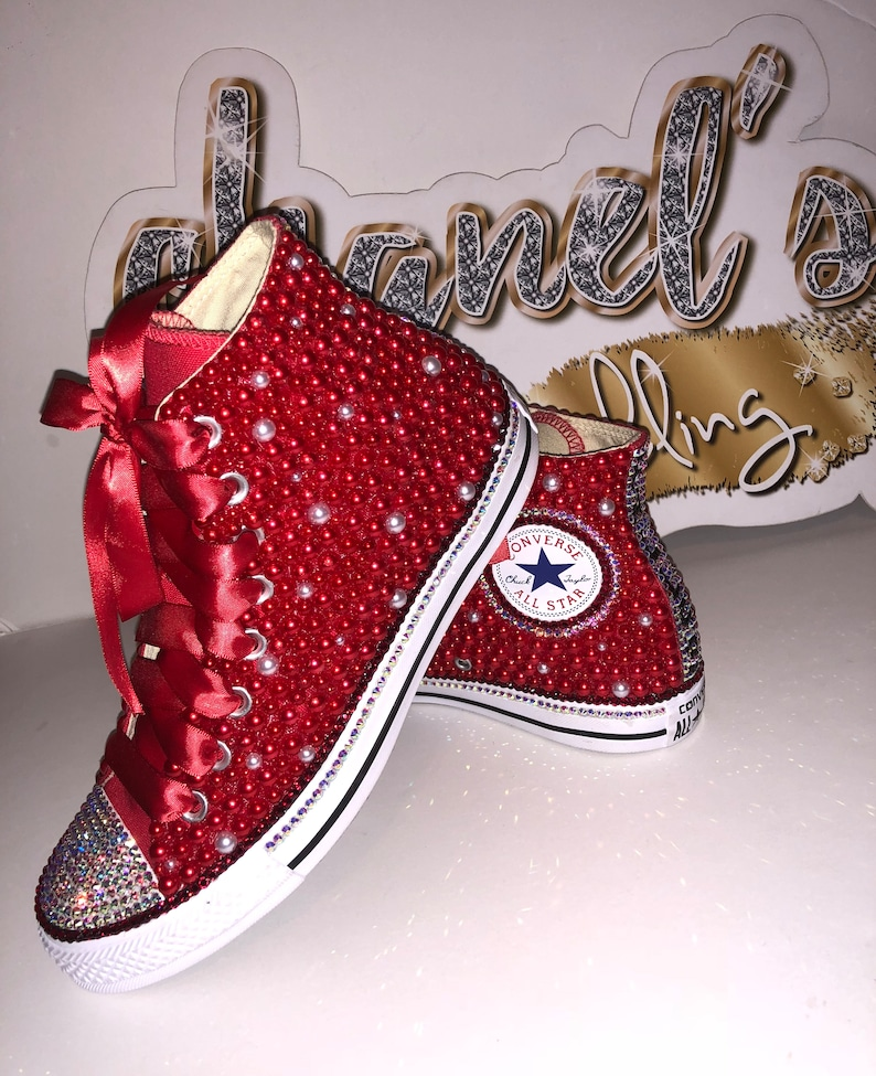 7d47de9317a94 KIDS Red/White Bling Converse All Star Chuck Taylor Sneakers High-Top