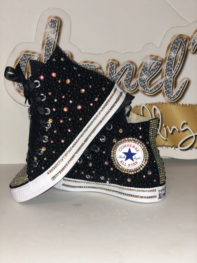 8e18dc94b6416f KIDS Black Glam Bling Converse All Star Chuck Taylor Sneakers