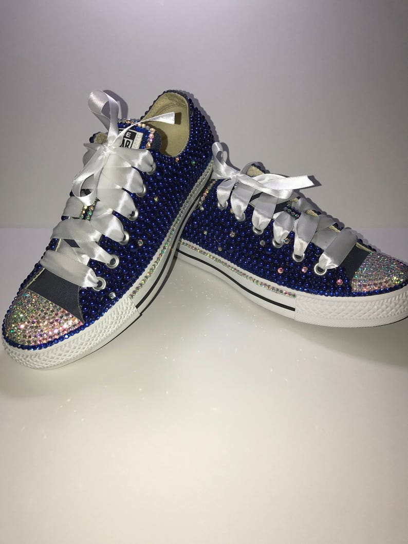 b54c80c2984b KIDS Blue Bling Converse All Star Chuck Taylor Sneakers