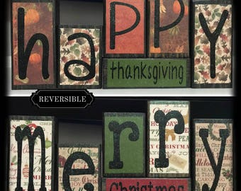 reversible blocks thanksgiving decor christmas decoration holiday mantel decor mantle decoration winter mantel decor bookshelf decor - Etsy Christmas Decorations