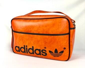 35beb8f37758 RARE Vintage ADIDAS Shoudler Bag Orange Leather 80s YUGOSLAVIA
