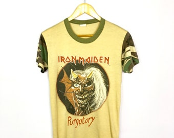 ce9dcf60 MEGA RARE!! Vintage Iron Maiden Camouflage Purgatory Alive in The East 80s  Band Shirt