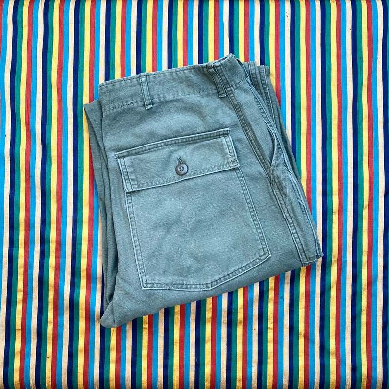 RARE Vintage US Army \u201cVietnam Sateen OG-107\u201d Button Fly Utility Trousers Combat Military 60s Pants Olive Green