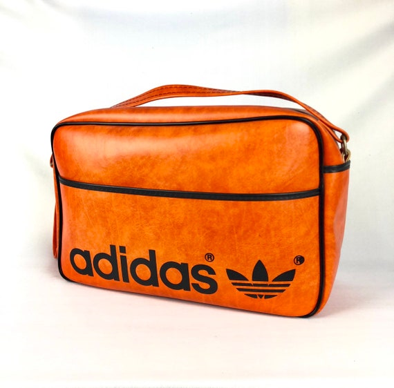 db51ba0105 RARE Vintage ADIDAS Shoudler Bag Orange Leather 80s YUGOSLAVIA