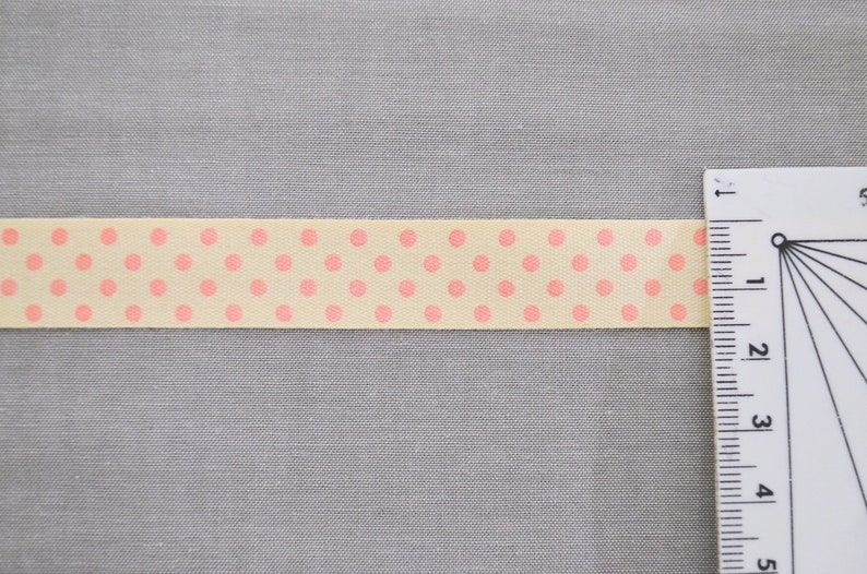 Weave dots 15 mm natural cotton ribbon by the metre