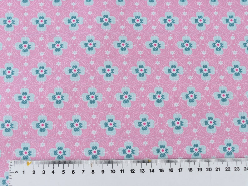 Coated cotton fabric pink mint flowers water repellent fabric cotton