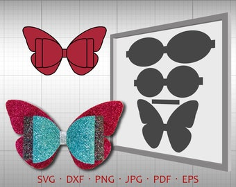 3d Layer Bow Svg Diy Bow Cut File Leather Hair Accessories Etsy