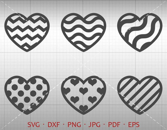 Pattern Heart SVG Chevron Wave Polka Dot Heart Clipart