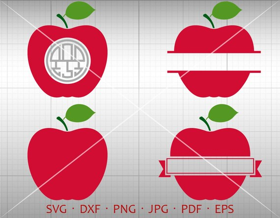 Apple Svg Apple Monogram Frame Teacher Clipart Vector Etsy