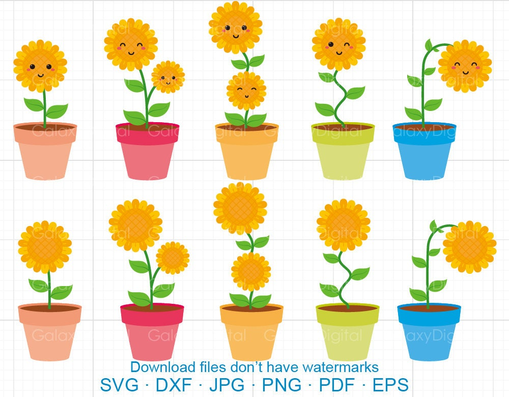 Cute Sunflower Clipart SVG Helianthus SVG DXF Silhouette ...