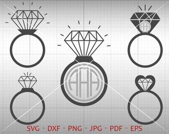 Diamond Ring SVG, Wedding Monogram SVG, Diamond Clipart Vector DXF Shirt Svg Silhouette Cricut Cut Files Commercial Use
