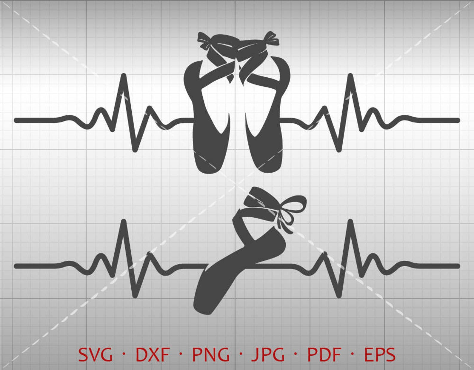 heartbeat ballet shoes svg, ekg ballerina clipart silhouette cricut cut file commercial use